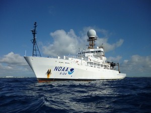 Scientists on NOAA Ship Ronald H. Brown will launch weather balloons up to eight times a day in the eastern tropical Pacific to help study the current El Niño. (Credit: NOAA)