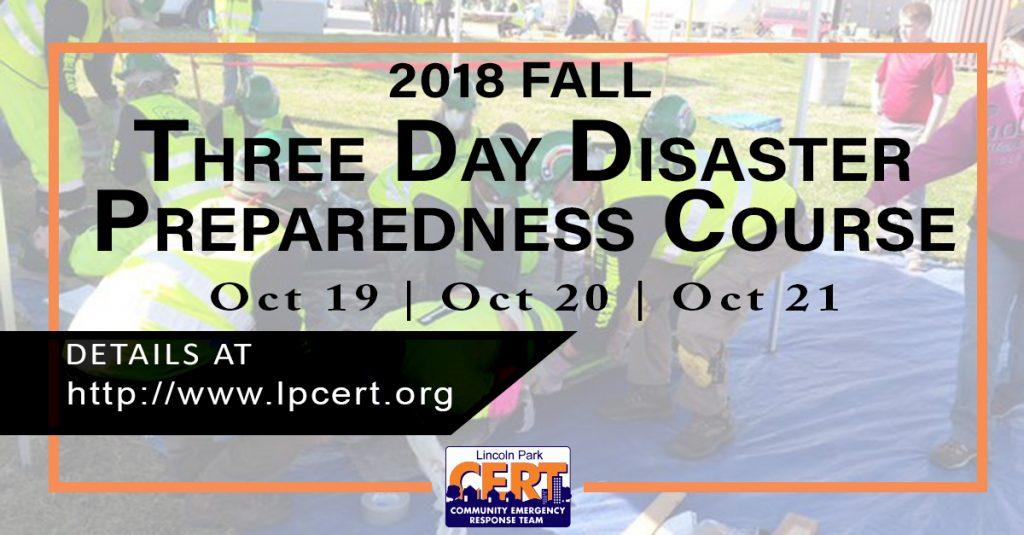 Community Emergency Response Team (CERT) to hold three days